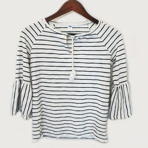 Old Navy Bell Sleeve 3/4 Black White Striped Shirt